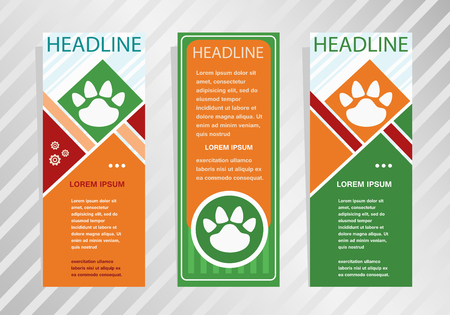 Paw icon  on vertical banner. Modern banner, brochure design template.