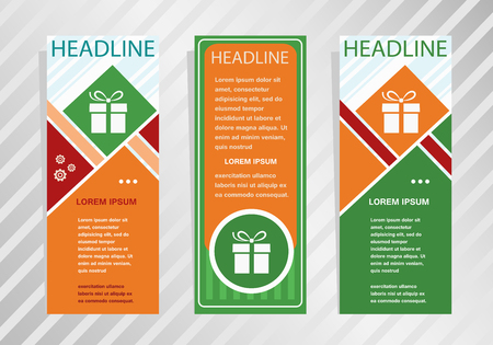 Gift box icon on vertical banner. Modern banner, brochure design template. Ilustrace