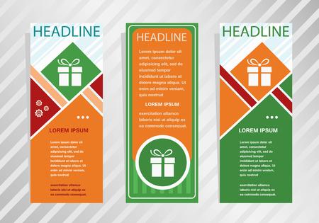 Gift box icon on vertical banner. Modern banner, brochure design template. Illustration