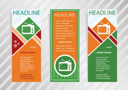 Retro television vertical banner. Modern banner, brochure design template.