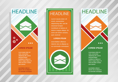 Open envelope icon on vertical banner. Modern banner, brochure design template