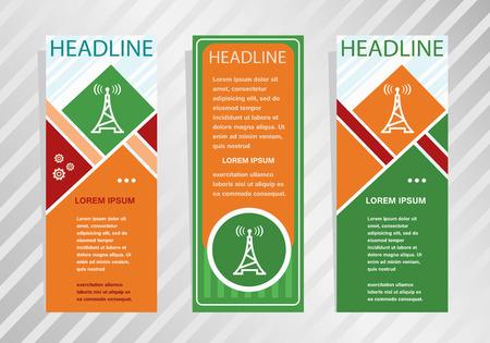 Transmitter icon on vertical banner. Modern banner, brochure design template