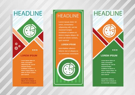 Pizza icon on vertical banner. Modern banner, brochure design template