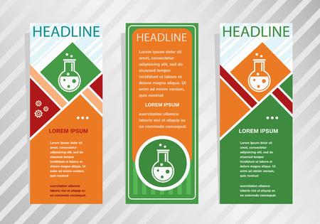 Glass bulb icon on vertical banner. Modern banner, brochure design template.