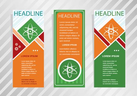 Atom molecule icon on vertical banner. Modern banner, brochure design template. Ilustrace