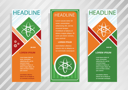 Atom molecule icon on vertical banner. Modern banner, brochure design template. Illustration