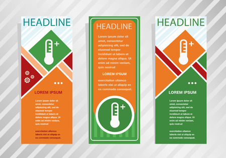 Thermometer icon on vertical banner. Modern banner, brochure design template