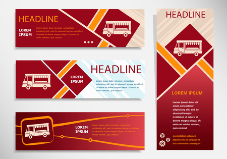 Food truck icon on vector website headers, business success concept. Modern abstract flyer, banner.