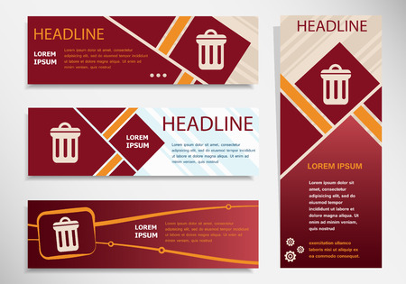 Trash can icon on vector website headers, business success concept. Modern abstract flyer, banner