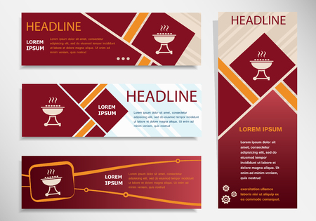 Barbecue grill icon on vector website headers, business success concept. Modern abstract flyer, banner Illustration