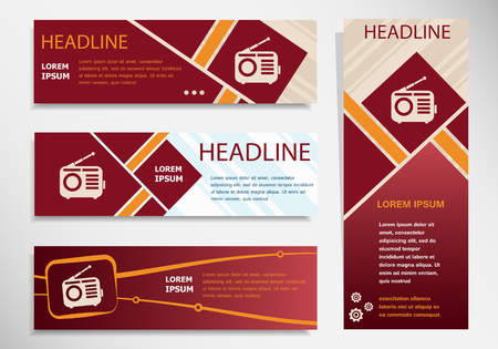 Retro radio icon on vector website headers, business success concept. Modern abstract flyer, banner.