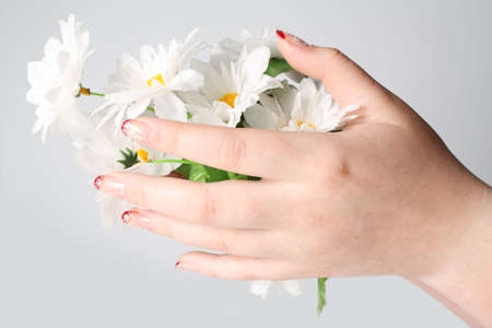 Female hands hold a bouquet of camomiles photo