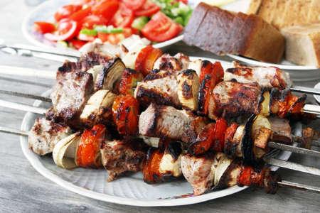Skewers with a shish kebab photo