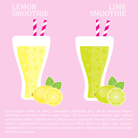 Fruit smoothie - lemon and lime smoothies. Menu element for cafe or restaurant with energetic fresh drink made in flat style.  Vector