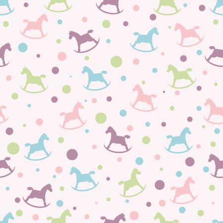 円と赤ちゃんロッキング馬とのシームレスなパターン。カード、招待状、結婚式やベビー シャワーのアルバム、背景、芸術およびスクラップ ブック  イラスト・ベクター素材