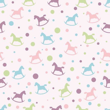 prints: Seamless pattern with circles and baby rocking horse. For cards, invitations, wedding or baby shower albums, backgrounds, arts and scrapbooks.