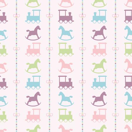 schommelpaard: Naadloze vector patroon met bogen op een kleurrijke strips achtergrond, baby treinen en kleurrijke kindje hobbelpaard. Voor kaarten, uitnodigingen, bruiloft of baby shower albums, achtergronden, kunst en plakboeken.