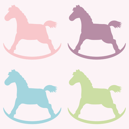 Baby horse silhouettes. Vector illustration.The rose background is removed. Vector