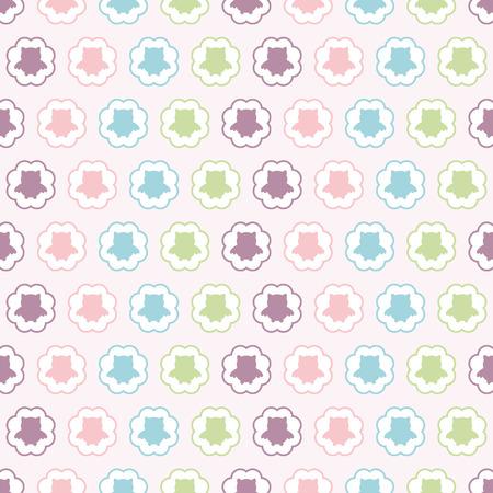 owlet: Modelo incons�til del vector con coloridos b�ho (owlet) en c�rculos. Para tarjetas, invitaciones, boda o la ducha del beb� �lbumes, fondos, artes y �lbumes de recortes. Vectores