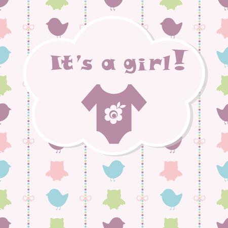 ropa de beb�: Tarjeta de llegada del beb�. Tarjeta de la ducha del beb�. Tarjeta del beb� reci�n nacido con la ropa de beb�. Fondo con los arcos en un colorido tiras y coloridas aves y b�hos. El texto se dibuja, el texto se puede quitar. Vectores