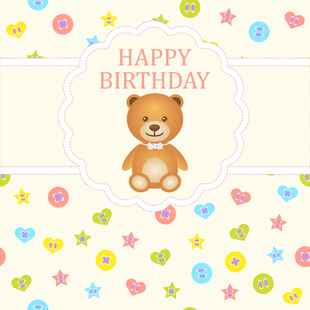 Baby boy arrival card. Baby shower card. Newborn baby card with teddy bear and background with colorful buttons. Vector illustration. The text is drawn, the text can be removed. Vector