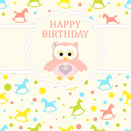 Baby girl arrival card. Baby shower card. Newborn baby card with owl and background with baby rocking horse. Vector illustration. The text is drawn, the text can be removed.