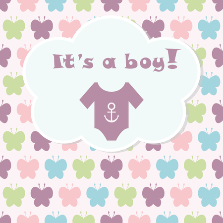 ropa de beb�: Tarjeta de llegada del beb�. Tarjeta de la ducha del beb�. Tarjeta del beb� reci�n nacido con la ropa de beb� y de fondo con siluetas de mariposas. Ilustraci�n del vector. El texto se dibuja, el texto se puede quitar. Vectores
