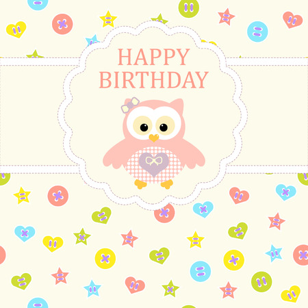 baby girl arrival: Baby girl arrival card. Baby shower card. Newborn baby card with owl and background with colorful buttons. Vector illustration. The text is drawn, the text can be removed. Illustration
