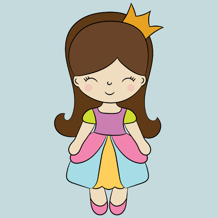 Childrens illustration with a cute princess. Best Choice for cards, invitations, prints or baby shower albums, backgrounds, arts and scrapbooks.