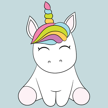 Childrens illustration with a cute unicorn. Best Choice for cards, invitations, prints or baby shower albums, backgrounds, arts and scrapbooks.