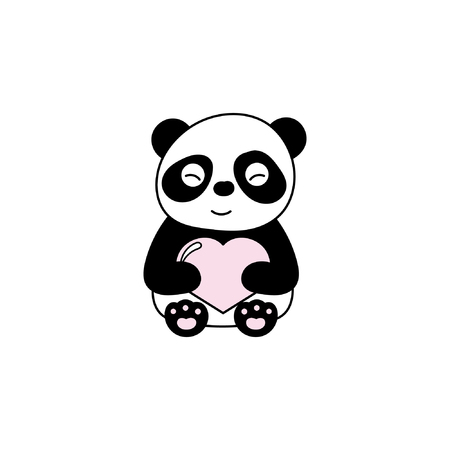 Children's illustration with panda. Best Choice for cards, invitations, printing, party packs, blog backgrounds, paper craft, party invitations, digital scrapbooking. Illustration