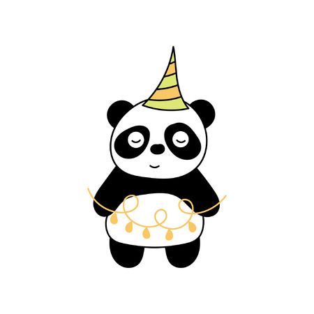 Childrens illustration with panda. Best Choice for cards, invitations, printing, party packs, blog backgrounds, paper craft, party invitations, digital scrapbooking.