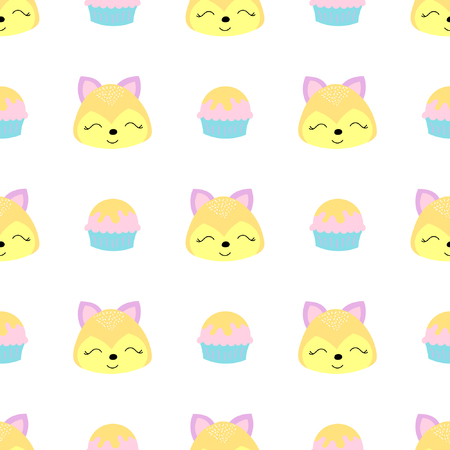 Baby seamless pattern with squirrel and cupcake. Best Choice for cards, invitations, printing, party packs, blog backgrounds, paper craft, party invitations, digital scrap booking.