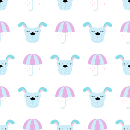 Baby seamless pattern with dog and umbrella. Best Choice for cards, invitations, printing, party packs, blog backgrounds, paper craft, party invitations, digital scrap booking. Illustration