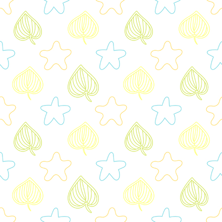 Baby seamless pattern with stars and leaves. Best Choice for cards, invitations, printing, party packs, blog backgrounds, paper craft, party invitations, digital scrap booking.
