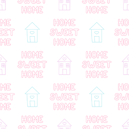 Baby seamless pattern with house and lettering. Best Choice for cards, invitations, printing, party packs, blog backgrounds, paper craft, party invitations, digital scrap booking.