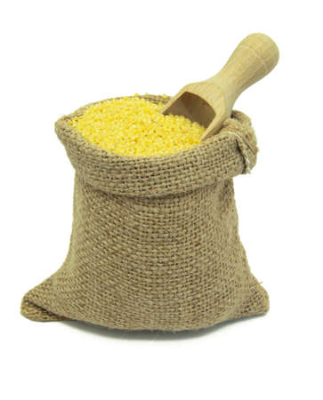 Yellow millet in linen sack isolated on white background. photo