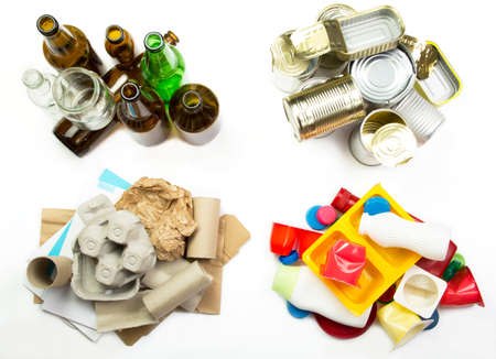 managing waste: Segregated garbage - glass, metal, paper and plastic