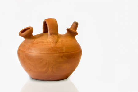 Jug Clay Pot on white background