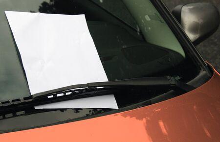 Empty page on car windscreen