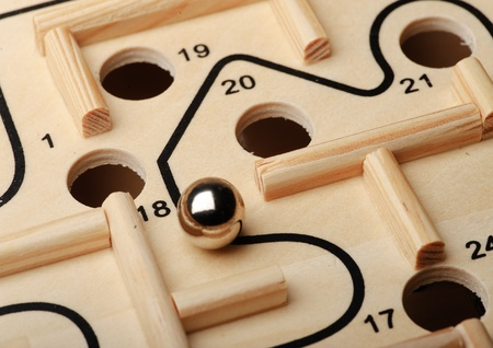 solved maze puzzle: Maze game closeup Stock Photo