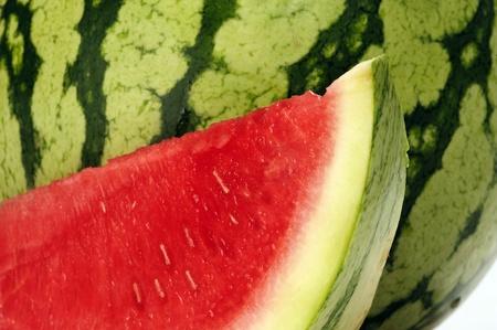 Mooie heerlijke watermeloen Slice voor hele meloen Stockfoto