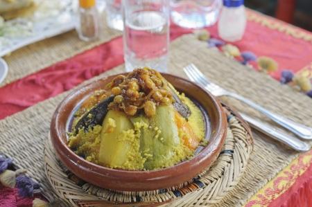 Vegatable couscous in een Marrakesh restaurant