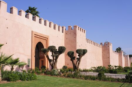 De beroemde muur van Marrakech, Marokko Stockfoto
