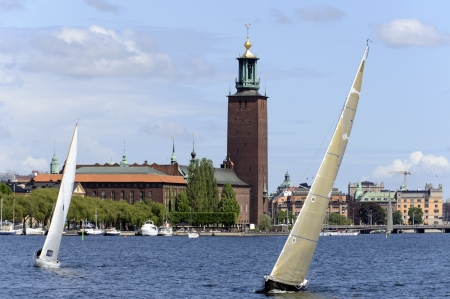 Zeilen in Stockholm Stockfoto