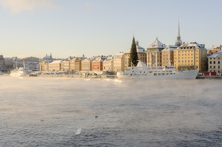 Stockholm old town on a cold and sunny december morning
