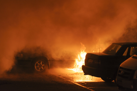 Burning cars Stock Photo - 26081989