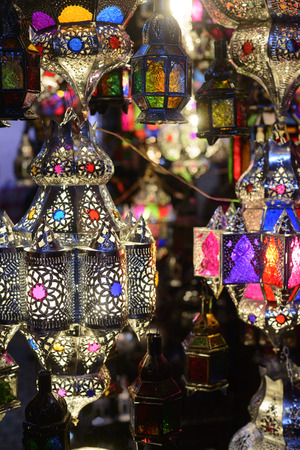 Lampen in de Marrakech souks Stockfoto