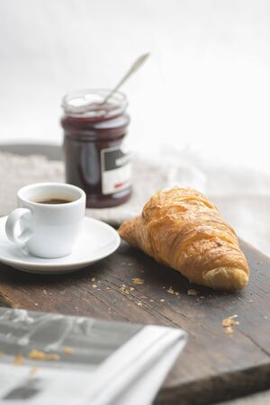 French breakfast in the morning light Stock Photo