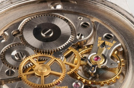 Closeup of a fine Swiss precision clockwork Stockfoto